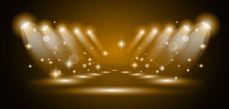 옥내의: 매직 골드 광선 사람들 또는 제품 광고를위한 빛나는 효과 스포트라이트. 모든 조명과 그림자가 투명입니다.