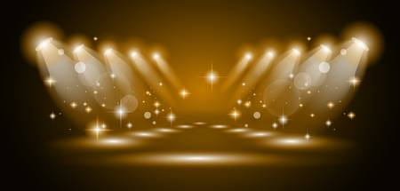 live entertainment: Magic Spotlights with Gold rays and glowing effect for people or product advertising. Every lights and shadow are transparent. Illustration