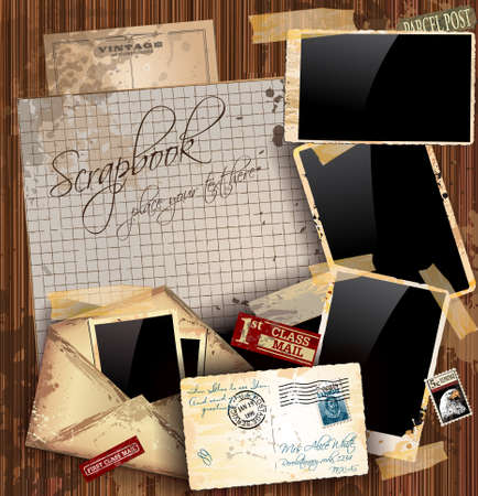 old letters: Vintage scrapbook composition with old style distressed postage design elements and antique photo frames plus some post stickers. Background is wood. Illustration
