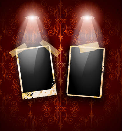 featured: Antique distressed photoframes with old dirty look on a vintage seamless wallpaper. Frames are featured by led spotlights.Shadows are transparent.