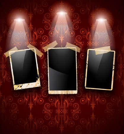 grunge photo frame: Antico portafoto in difficolt� con il vecchio aspetto sporco su una carta da parati d'epoca senza soluzione di continuit�. I frame sono caratterizzati da spotlights.Shadows led sono trasparenti.