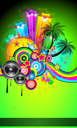 sound card: Disco Event Poster with an abstract mix of design elements included tropical palms and space for your music text and details. Illustration