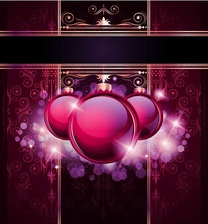Elegant Merry Christmas and Happy New Year background with vintage seamless wallpaper and glossy baubles. Stock Vector - 10784924