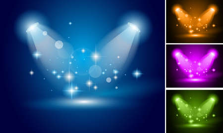 Magic Spotlights with Blue rays and glowing effect for people or product advertising. 3 other colours included. Stock Vector - 10784922