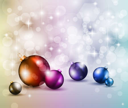 Merry Christmas Elegant Suggestive Background for Greetings Card with glitter lights and stunning baubles. Stock Photo - 10863871