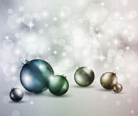 Merry Christmas Elegant Suggestive Background for Greetings Card with glitter lights and stunning baubles. Stock Photo - 10863872