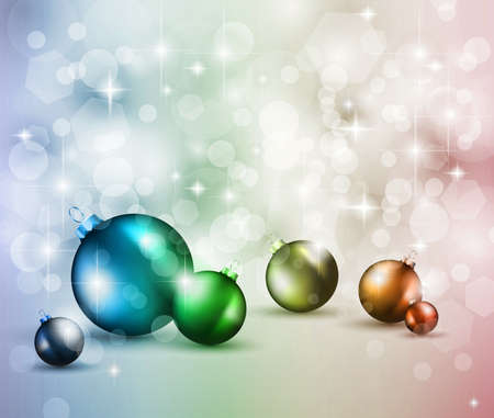 suggestive: Merry Christmas Elegant Suggestive Background for Greetings Card with glitter lights and stunning baubles. Stock Photo