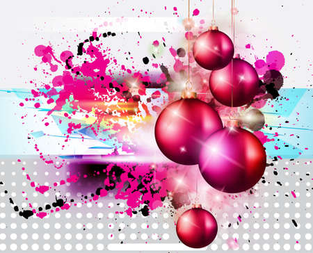 Merry Christmas Elegant Suggestive Background for Greetings Card with glitter lights and stunning baubles. photo