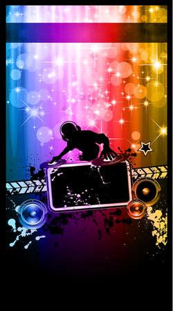jockey: Poster Disco de evento con un Disk Jockey remezclar dos discos con una cascada de brillos lghts en la espalda y el espacio para el texto de la m�sica y los detalles.