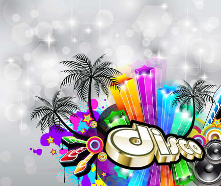 Suggestive Tropical Disco Flyer for Crhstimas Disco Party Event. Vector