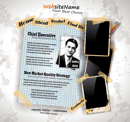 Photo Book Vintage Style Website Template with grungy background and distressed oll look photo frames. Shadows are transparent Stock Vector - 10938277