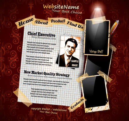 Photo Book Vintage Style Website Template with grungy background and distressed oll look photo frames. Shadows are transparent Stock Vector - 10938276