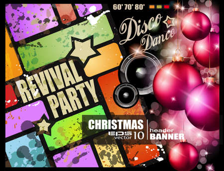 Vintage revival party flyer for Christmas disco music event. Vector