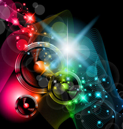 Disco Event Background with and Explosion of colurs! Ready for flyers and posters. Vector