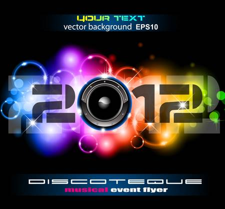Colorful New Year Celebration Background with Glitter and Rainbow Colours. Ideal for Discoteque Event Flyer or trendy parties. Vector
