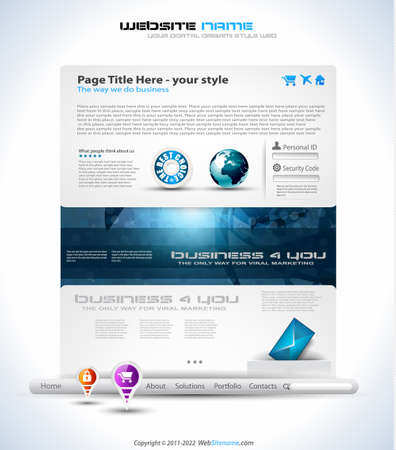 Origami Website - Elegant Design for Business Presentations. Template with a lot of design elements. Every Shadow is transparent Illustration