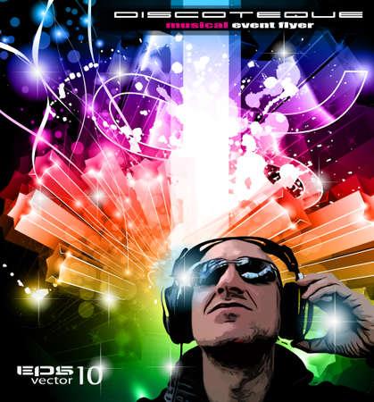 disk jockey: Disco Sfondo eventi con forma Disk Jockey ed esplosione di colurs! Pronto per volantini e manifesti.
