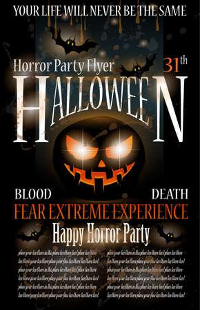 halloween party: Halloween Horror Party Flyer met bloed druppels op de samenstelling, de grunge achtergrond en Jack de lantaarn met angst expressie.