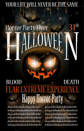 Halloween Horror Party Flyer with blood drops over the composition, grunge background and jack the lantern with fear expression. Vector