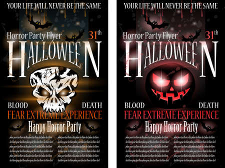 Halloween Horror Party Flyer with blood drops over the composition, grunge background and jack Skull with fear expression. Vector