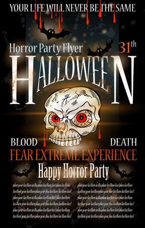 halloween party: Halloween Horror Party Flyer met bloed daalt op de samenstelling, grunge achtergrond en jack Schedel met angst expressie.