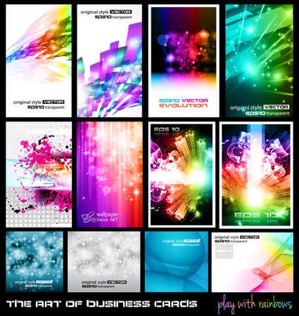 tarjeta amarilla: El arte de la Colecci�n de tarjetas de visita: jugar con el arco iris. Una colecci�n de fondos llenos de estrellas, luces, brillos de rayos y los elementos de luminancia. Vectores