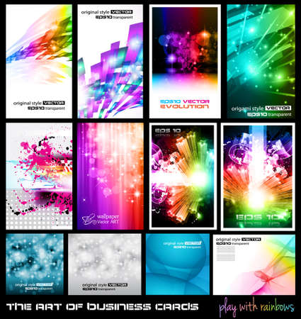 The art of business card Collection: play with rainbows. A collection of backgrounds full of stars, ray lights, glitters and luminance elements. Vector