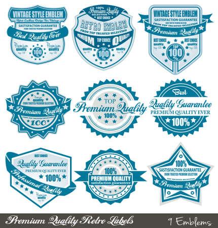 Prima de calidad y distintivos de garantía de satisfacción con el estilo gráfico retro y colores delicados. Ilustración de vector