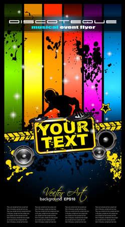 Tor de viajero discoteca de música alternativa evento cartel. basckground está lleno de brillo y el flujo de luces con tonos del arco iris Ilustración de vector