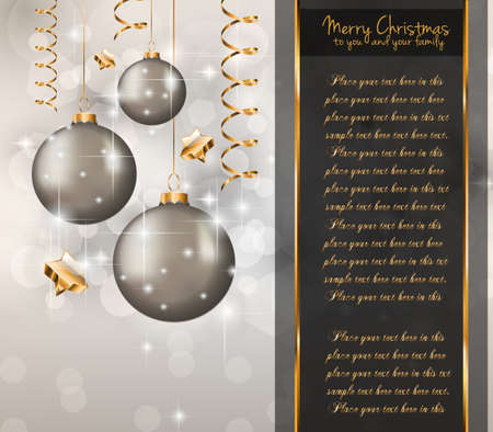 Elegant Classic Christmas Greetings background for flyers, invitations, cards or posters.  Vector