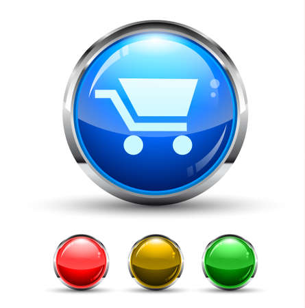 Shopping Cart Cristal Glossy Button with light reflection and Cromed ring. 4 Colours included.  Vector