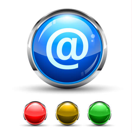 Email Cristal Glossy Button with light reflection and Cromed ring. 4 Colours included.  Vector