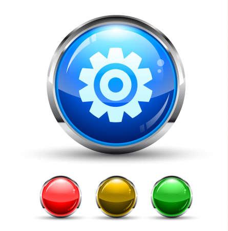 Einstellungen Cristal Glossy Button mit Lichtreflexion und verchromtem Ring. 4 Farben enthalten.