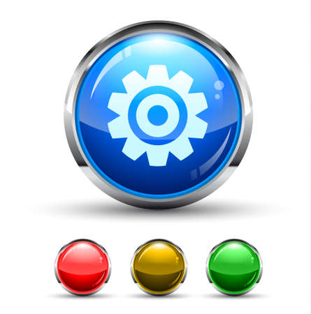Settings Cristal Glossy Button with light reflection and Cromed ring. 4 Colours included.  Vector
