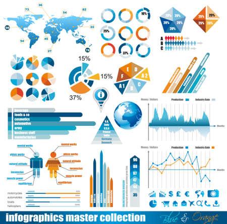 grafica de pastel: Prima infografía Master Collection: gráficos, histogramas, flechas, gráfico, globo terráqueo en 3D, iconos y un montón de elementos relacionados con el diseño.