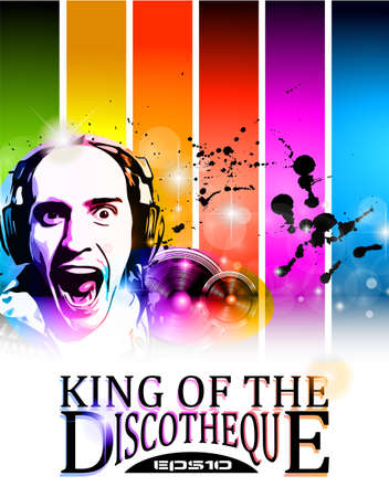 disk jockey: King of the discotheque flyer tor alternative music event poster. basckground is full of glitter and flow of lights with rainbow tone