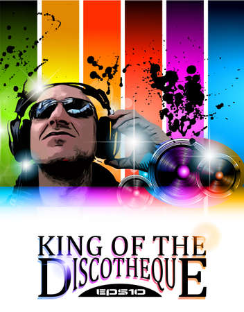 club flyer: King of the discotheque flyer tor alternative music event poster. basckground is full of glitter and flow of lights with rainbow tone