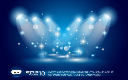 pop star: Magic Spotlights with Blue rays and glowing effect for people or product advertising. Every lights and shadows are transparent.