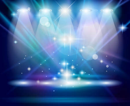 spotlight lamp: Faretti magia con raggi blu e l'effetto luminoso per le persone o la pubblicit� del prodotto. Vettoriali