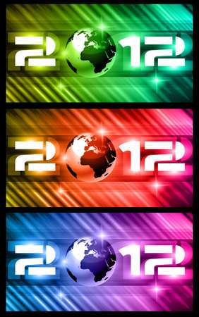 High Tech New Year Banners Background with rays of light and Rainbow Colours. Ideal for alternative Flyer or psters. Vector
