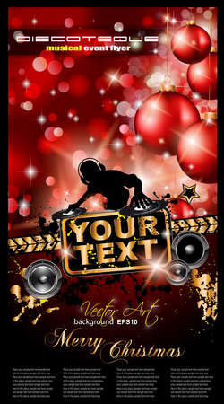 baclground: Christmas Party Event Background with Dj Shape and Fantastic Red Baubles and Glitters in the baclground. Ideal for music posters or depliant.