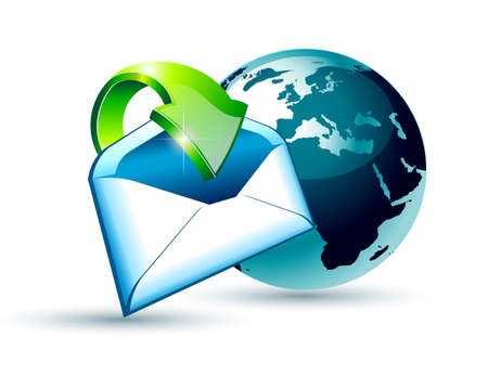Global Shipping and Communication Email concept illustations with a 3D glossy Globe and style postcard with an arrow pointing to the center of the image. Vector
