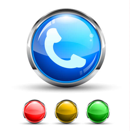 Phone Call Cristal Glossy Button with light reflection and Cromed ring. 4 Colours included. Vector