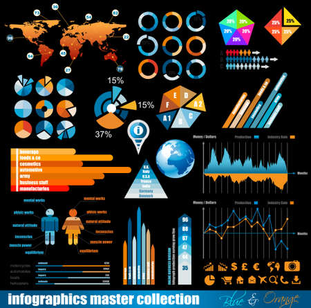 cost savings: Premium infographics master collection: graphs, histograms, arrows, chart, 3D globe, icons and a lot of related design elements.