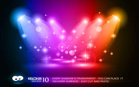 luz focal: Focos de magia con los rayos azules y efecto brillante para las personas o publicidad del producto. Cada luces y sombras son transparentes.