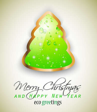 Elegant Eco Green Christmas tree for nature respect greetings. Green liquid bubbles inside a lovely tree with a golden frame. Vector