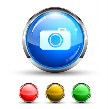 Camera Cristal Glossy Button with light reflection and Cromed ring. 4 Colours included. Vector