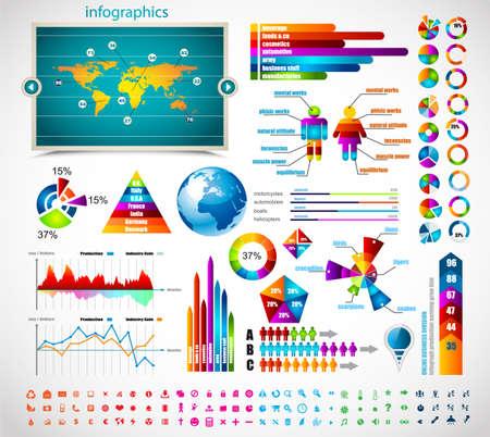 graph: Premium-Infografiken master collection: Diagramme, Histogramme, Pfeile, ein Diagramm, 3D-Globus, Icons und eine Menge von verwandten Gestaltungselemente.
