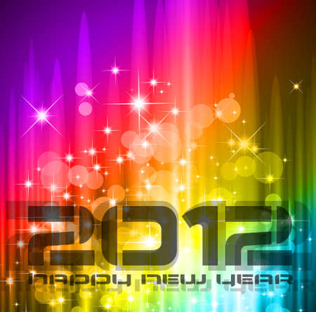 2012 New Year celebration background for cover, Flyer or poster with glitter elements and rainbow colours. Stock Vector - 11274550