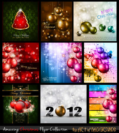 Amazing Collection of Christmas Flyers: 9 stunning background for Seasonal Greetings . Stock Vector - 11274552